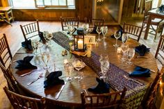lantern centerpiece from Thorpewood Maryland rustic wedding by Procopio Photography