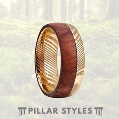 This exceptional ring features a bubinga wood inlay with stunning gold plated damascus steel. The result is a very masculine, exotic steel ring that is perfect for a wedding band, anniversary gift, promise ring, or a birthday. Mens Wood Wedding Bands, Wedding Men, Wedding Rings, Wedding Ideas, Damascus Ring, Damascus Steel, Titanium Rings, Wood Rings, Promise Rings