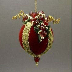 Handmade Victorian Inspired Red Velvet Christmas Ball Wine Theme Ornament with Glass Bead Grapes by Towers and Turrets Victorian Christmas Ornaments, Christmas Ornaments To Make, Handmade Christmas, Christmas Diy, Christmas Crafts, Christmas Decorations, Christmas Mantels, Silver Christmas, Vintage Ornaments