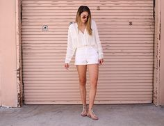 As much as I love an all black look, I am digging the modern style of all white. #hm #blouse #asos #shorts #payless #sandals