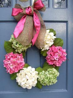 Blumenkranz schleifenband-pink dekoideen-frühling