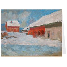 Monet: Red Houses Holiday Cards