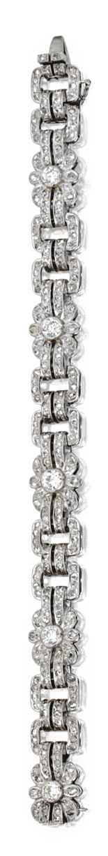 WHITE GOLD AND DIAMOND BRACELE set with old European-cut and rose-cut diamonds weighing approximately 3.00 carats, length 7 inches.