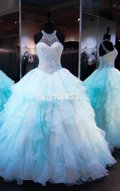 Blue Ball Gown Scoop Neck Tulle Floor Length Crystal Open Back Quinceanera Dress