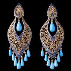 Brinco indiano com safira azul, iolita, turqueza e brilhante chocolate