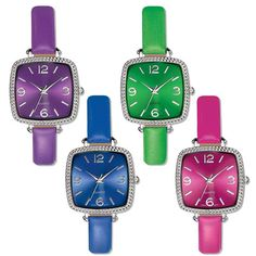 """Silvertone textured square faced watch with an on-trend colorful leatherlike strap. Offered in purple, blue, fuchsia, and green.· Band: 9"""" L with Buckle closure· Face: Approx. 1"""" without casing; 1 1/8"""" with casing· Battery: Replaceable SR626SW· Movement: Quartz-PC21J· Imported"""
