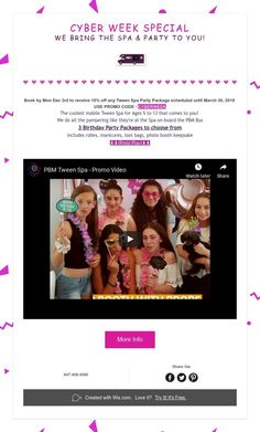 Cyber Week Special - OFF Tween Spa Party Packages until Mon Dec 3 We Bring the Spa & Party to You! Spa Birthday Parties, Spa Party, 3rd Birthday, Spa Services, Tween, Photo Booth, Cyber, Bring It On, Purple