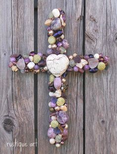 "9"" Beaded Wire Wall Cross ~"