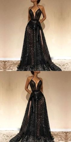 Cheap Spaghetti Straps Sexy Black V-Neck Evening Gowns, 2019 New Lace Prom Dress With Slit, Cheap Spaghetti Straps Sexy Black V-Neck Evening Gowns, 2019 New Lace Prom Dress With Slit, - Prom Dresses Design Evening Dresses, Formal Dresses, Long Dresses, Beautiful Prom Dresses, Beautiful Evening Gowns, Homecoming Dresses, Dress Prom, Lace Prom Gown, Long Prom Gowns