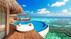 Wallpaper Luxury Water Bungalows Maldives, Brown Nipa Hut Maldives Water Bungalow, Maldives Water Villa, Maldives Luxury Resorts, Best Resorts, Overwater Bungalows, Beach Bungalows, Maldives Wallpaper, Ideas Principales, Underwater Restaurant