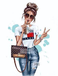 Cute Cartoon Drawings, Girly Drawings, Cute Girl Wallpaper, Cute Wallpaper Backgrounds, Fashion Illustration Vintage, Illustration Girl, Star Fashion, Fashion Art, Moda Barbie
