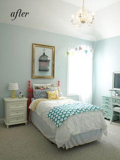 That wall color is Sherwin-Williams' Tradewind mixed at 75%. So glad you like it!  Bed is Begonia pink, also from SW.