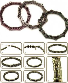 Bracelets with corners Seed Bead Bracelets, Seed Bead Jewelry, Bead Jewellery, Beaded Jewelry, Beaded Necklace, Bead Loom Designs, Beaded Anklets, Jewelry Making Tutorials, Jewelry Patterns