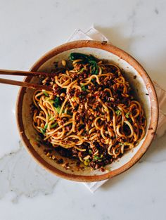 Dan Dan Noodles #challenging #pork #peppercorn #cinnamon #staranise #hoisin #shaoxing #darksoysauce #fivespice #bokchoy #spinach #peanut