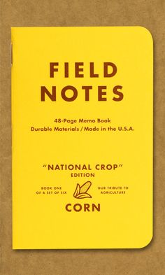 Field Notes National Crop Edition -- part of the Memo Book Archive. Map Design, Retro Design, Graphic Design Typography, Graphic Design Illustration, Promo Flyer, Note Memo, Vintage School, Field Notes, Branding
