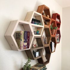 Large Set of Six Hexagon Shelves on Wall Beehive Bee Honeycomb Shelf Decor Wood Home Essential Oil Natural Wooden Crystal Storage Display Honeycomb Shelves, Bee Honeycomb, Hexagon Shelves, Nursery Shelves, Wall Shelves, Room Divider Shelves, Home Wall Art, Wall Art Decor, House In The Woods