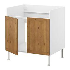 FAKTUM Alapszekrény DOMSJÖ dupla mosogatóh IKEA Tömörfa előlap. Robusztus felépítésű keret, 18 mm vastag. 23.200.-