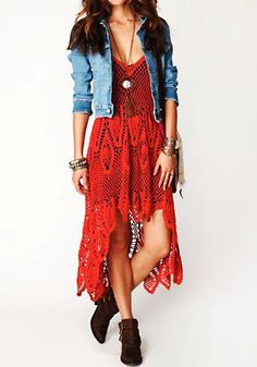 Boho Crochet Maxi Dress - Red @LookBookStore