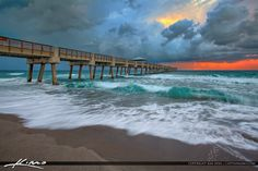 A older photo that I reprocessed using EasyHDR software. HDR image taken at the Juno Beach Pier durign a stormy sunrise. Juno Beach Pier, Buy Images, Hdr Photography, Old Photos, Summer Time, Sunrise, Florida, Waves, Boat