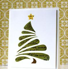 carte de vœux DIY pour Noël décorée d'un sapin de Noël vert et une étoile jaune