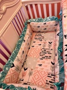 Basically, bedding sets are special packages that have everything for a crib. You can find very luxury ones (has a mobile with the same design as the the other pieces in the set) and regular ones. Custom Baby Bedding, Baby Bedding Sets, Crib Sets, Cowgirl Nursery, Calamity Jane, Nursery Crib, Dust Ruffle, Light Turquoise, Wild Horses