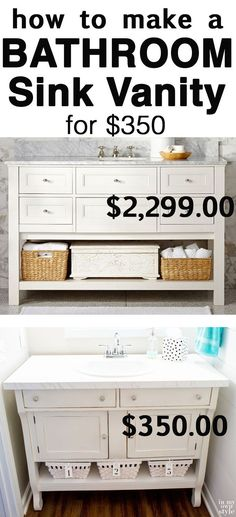 Finding DIY Home Decor Inspiration: How to make a bathroom sink vanity by repurposing ...