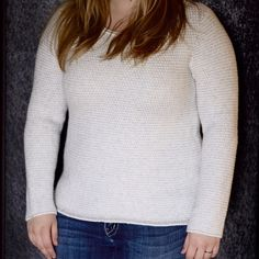 JCrew sweater The colors are white and grey, a different weaved stripe. This sweater is quite thick, definitely a winter staple. Can be dressed up or down, but I think it looks best with jeans and boots.  J. Crew Sweaters Crew & Scoop Necks