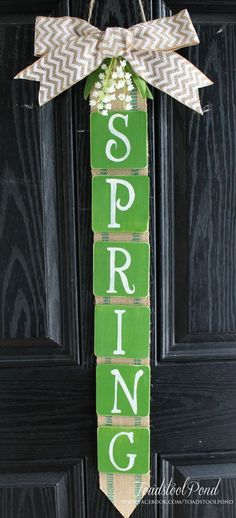 Rustic SPRING Door / Wall Hanging Burlap Chevron Lilly of the Valley Wreath Alternative
