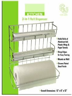 CHROME PLATED STEEL 3 IN 1 ROLL DISPENSER ORGANIZER RACK by DK. $19.99. Not enough drawer space in your kitchen? No problem! This triple-duty paper towel and wrap holder comes to the rescue. This chrome plated steel finish organizer mounts easily and securely on walls or cabinets, while the low profile design takes up a bare minimum of precious space. Your storage problems are a thing of the past ! Holds rolls of aluminum foil, plastic wrap and paper towels with sharp edge...