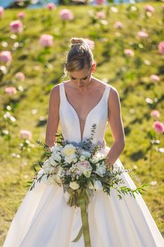 Romantic Bouquet Romantic featuring Photo by Brandie Sunley Wedding Bouquets, Wedding Flowers, White Bouquets, Wedding Dresses, White Ranunculus, White Peonies, Emerald Lake, Blooming Rose, Garden Styles