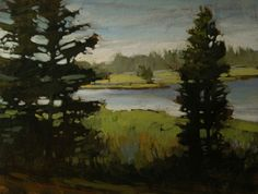 "Jan Schmuckal - ""Lakeside Afternoon"" - Original Oil - Tonalism - Impressionism"