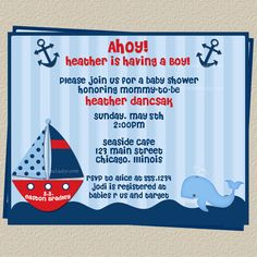 Ahoy Its a Boy Nautical Theme Baby Shower by TheInviteLadyShop, $6.50
