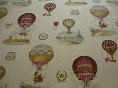 """Stof's """"Montgolfiere""""hot air balloon linen fabric for curtains."""