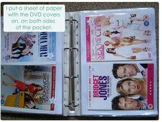 My May Sunshine: Organising and storing DVD's. Dvd Storage Binder, Diy Dvd Storage, Movie Storage, Storage Ideas, Book Storage, Storage Solutions, Movie Organization, Budget Organization, Cleaning