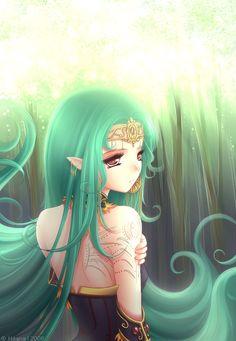 ✮ ANIME ART ✮ elf. . .princess. . .crown. . .circlet. . .long hair. . .elf ears. . .tattoos. . .jewelry. . .fantasy. . .cute. . .kawaii