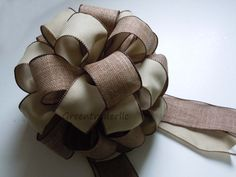 "12"" Burlap Christmas Tree Topper Bow by greentraderllc,"