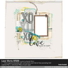 Layer Works No. 699 scrapbook page sketch in layered PSD and PNGs of each layer for instant scrapbook page #designerdigitals