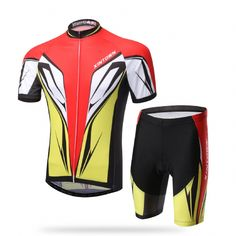 Red Strong Wind men cool breathable short sleeve bicycle jersey and short pants 2016 XINTOWN