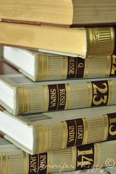 Repurpose old encyclopedia's into aged display books..... - Jennifer Rizzo