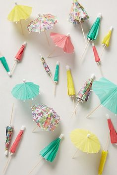 Umbrella Garnish Picks- #Anthrofave Love the colors