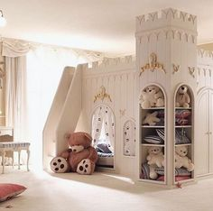 Children's room Castle bed, and playhouse. Baby Bedroom, Girls Bedroom, Bedroom Decor, Bedrooms, Nursery Room, Dream Rooms, Dream Bedroom, Castle Bedroom, Princess Room