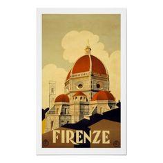 Poster de viagens do vintage, Firenze por yesterdaysgirl