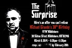 """Our customized """"Godfather"""" themed party invitation. 30th Birthday Parties, Gatsby Party, 50th Birthday Party, Birthday Party Invitations, Themed Parties, Invites, Mafia Party, Gangster Wedding, Gangster Party"""