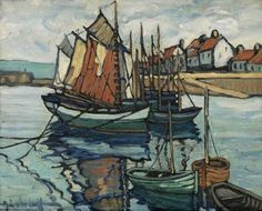Hale Woodruff, Untitled (Fishing Boats in a Normandy Port)