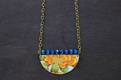 Colorful Half Circle Necklace with Antique by MusingTreeStudios