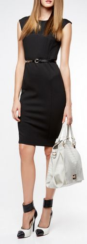 chic ♥✤ Get rid of the ridiculous shoes and purse replace with classic black pumps and black leather satchel.