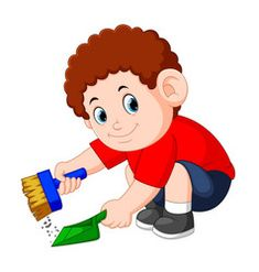 Boy with the curly hair clean up the dust Vector Image