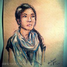 One of my 20-minute portraits. Sold!  Derwent Inktense pencils & 0.5 Copic multiliner  http://instagr.am/p/WUeLmHv7UF/