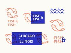 It's all about Fish - Fish & Fish restaurant ocean waves chicago badge animal wordmark lettermark minimalist icon illustration typography type system fish branding identity brand design logo