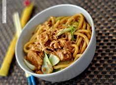 Yaki udon noodles w/ chicken. Follow the instructions in the recipe, but also use oyster sauce if it is available. Yum!